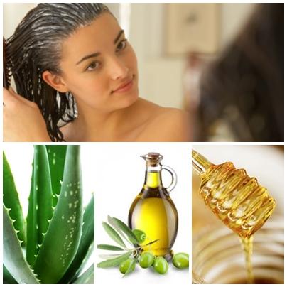 Aloe, honey and olive oil mask